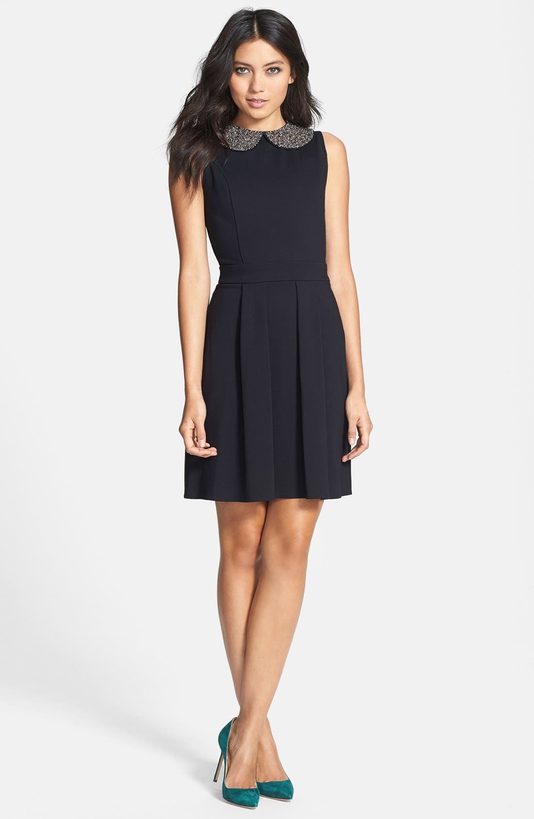 Alternate Image 1 Selected - Collective Concepts Beaded Collar Fit & Flare Dress