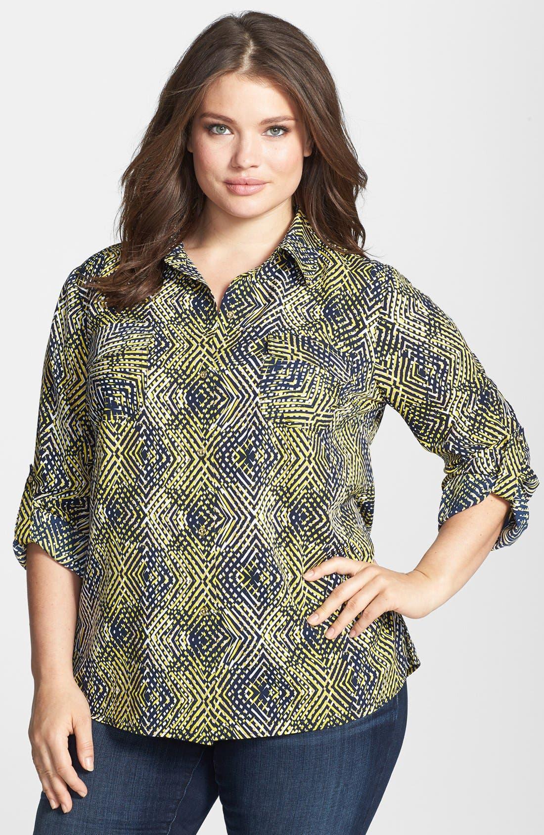 Main Image - Anne Klein Argyle Print Roll Sleeve Shirt (Plus Size)