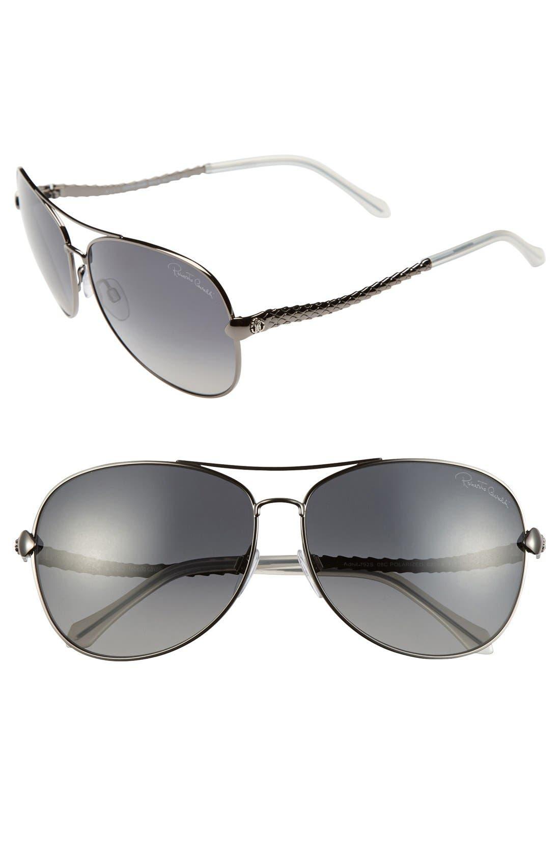 Main Image - Roberto Cavalli 'Adhil' 62mm Polarized Aviator Sunglasses