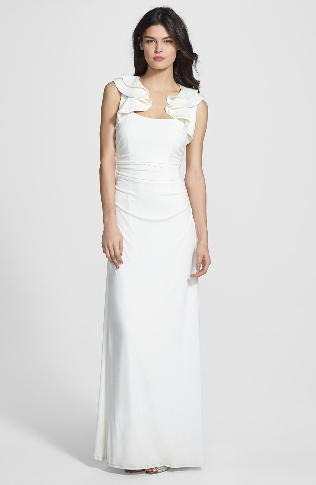 Alternate Image 1 Selected - Laundry by Shelli Segal Ruffled Jersey Gown