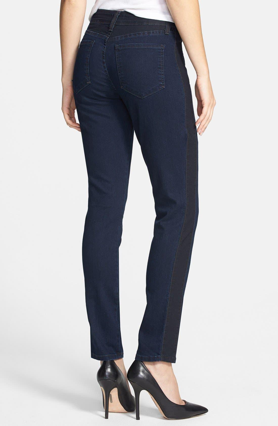 Alternate Image 2  - NYDJ 'Alexandra' Tuxedo Stripe Stretch Skinny Jeans (Covina)