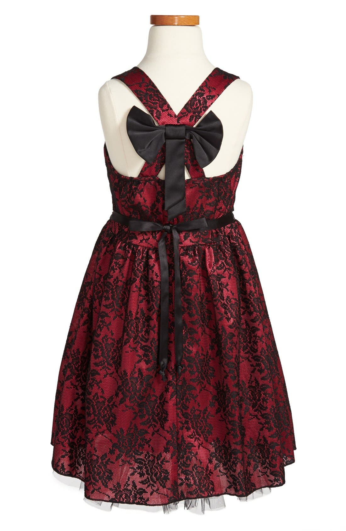 Alternate Image 2  - Roxette Satin & Lace Dress (Big Girls)