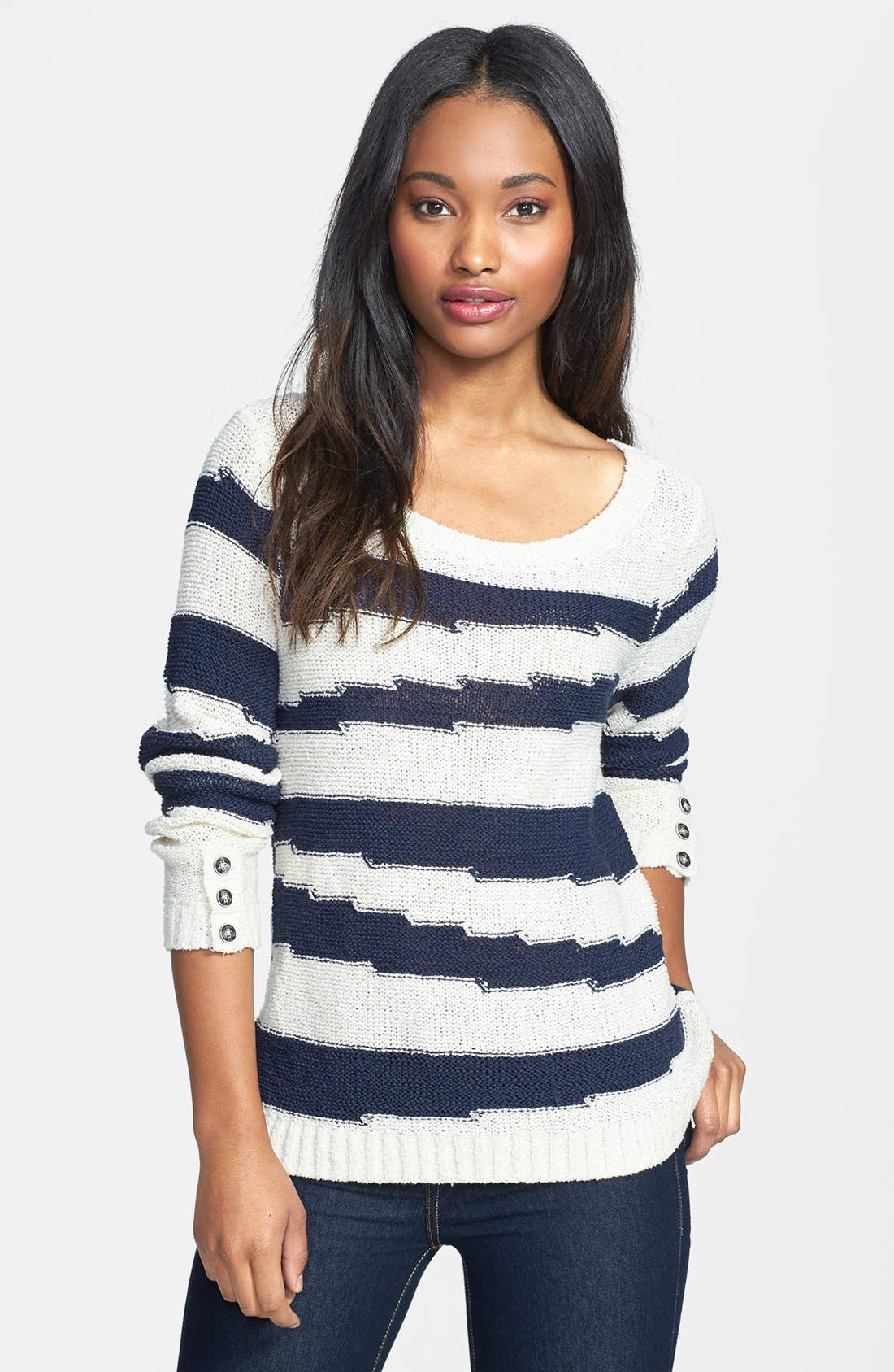 Alternate Image 1 Selected - Lucky Brand 'Atwater' Intarsia Stripe Cotton Blend Sweater