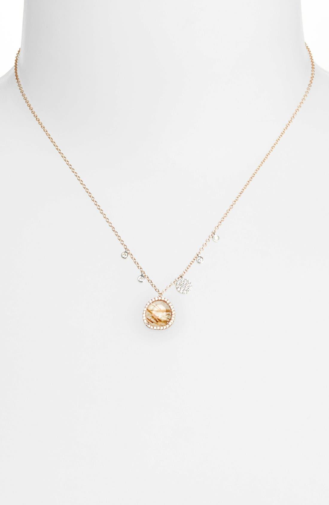 Alternate Image 2  - MeiraT 'Rough Cut' Stone & Diamond Pendant Necklace