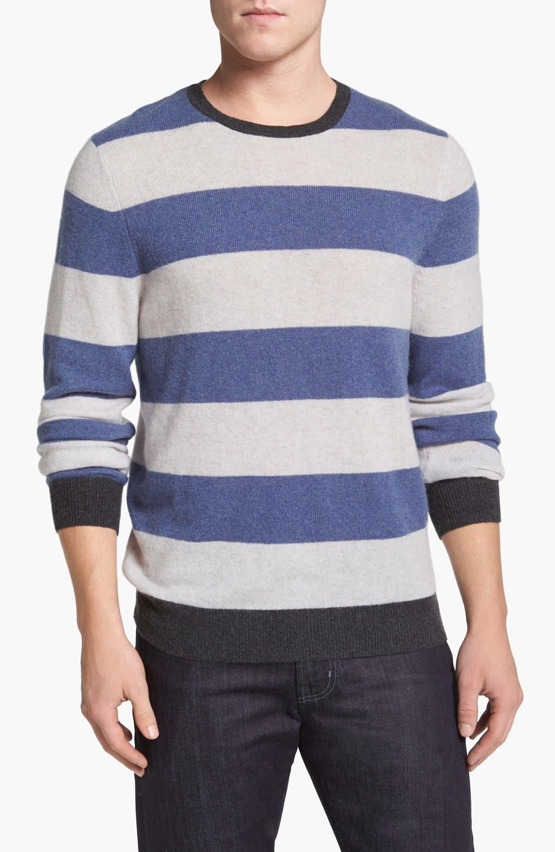 Main Image - 1901 Stripe Cashmere Crewneck Sweater