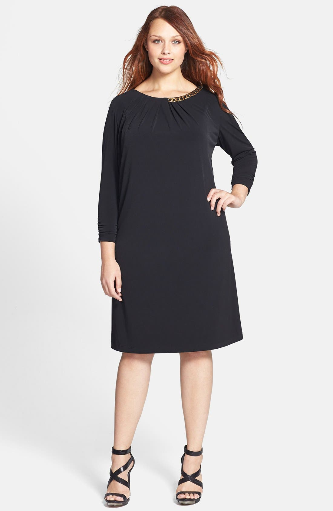 Alternate Image 1 Selected - Tahari by ASL Chain Necklace Detail Jersey Dress (Plus)