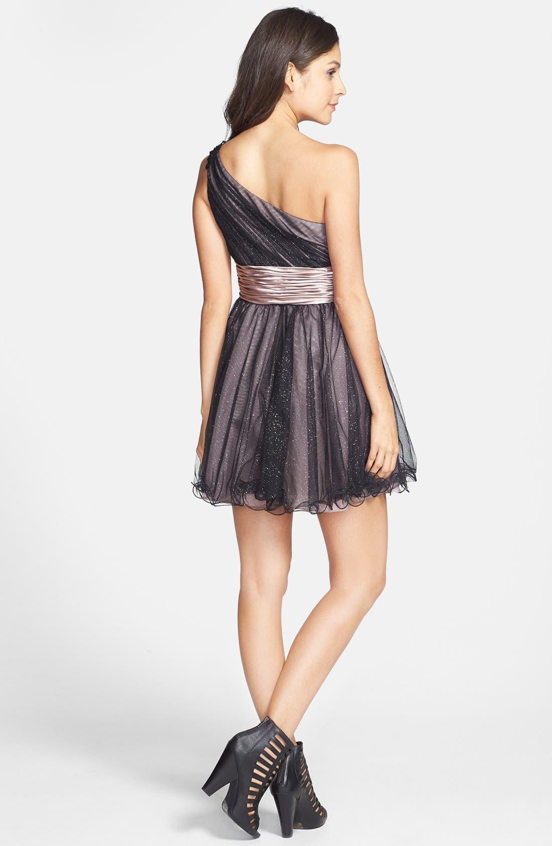 Alternate Image 2  - Jump Apparel One-Shoulder Dress (Juniors)