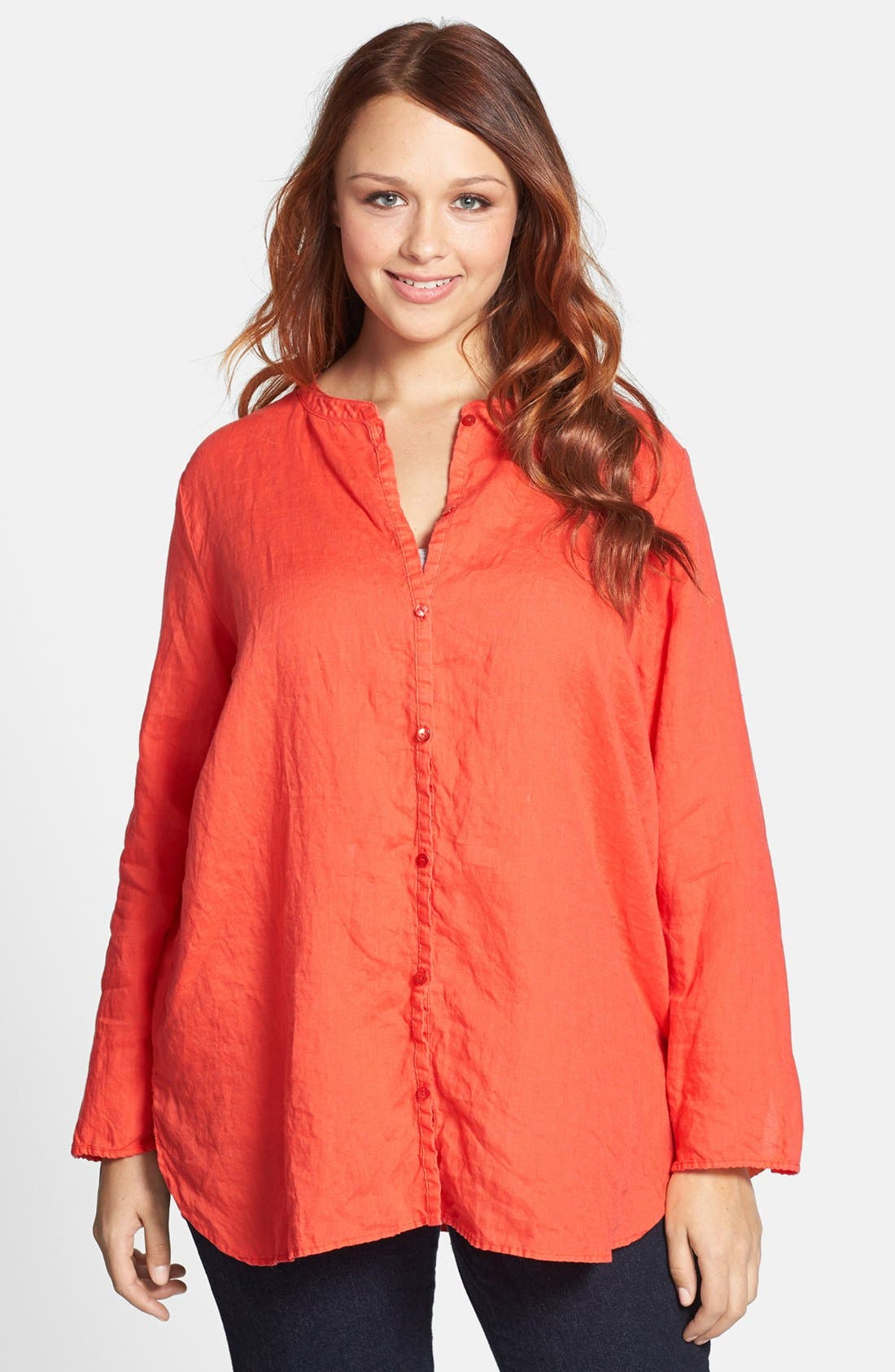 Alternate Image 1 Selected - Eileen Fisher Mandarin Collar Linen Shirt (Plus Size)