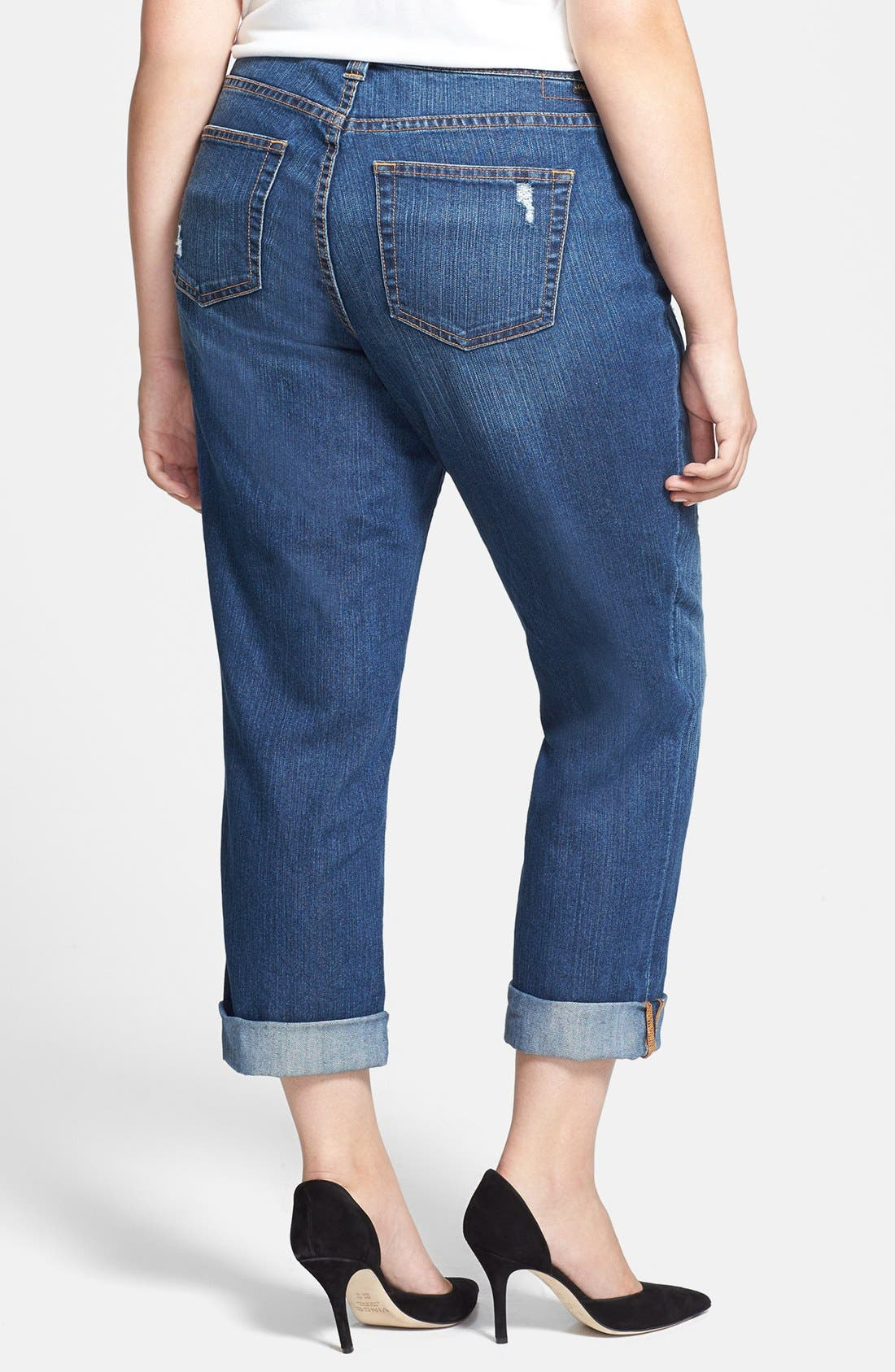 Alternate Image 2  - Jag Jeans 'Henry' Destroyed Boyfriend Jeans (Reservoir) (Plus Size)