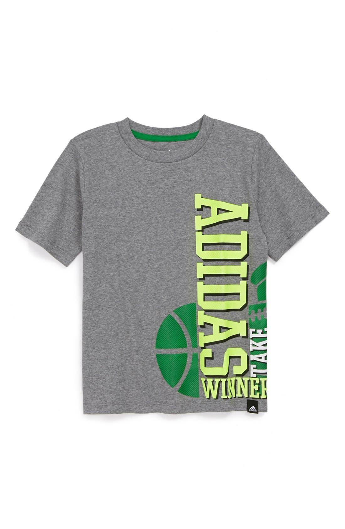 Alternate Image 1 Selected - adidas 'Train Hard Play Hard' T-Shirt (Little Boys)