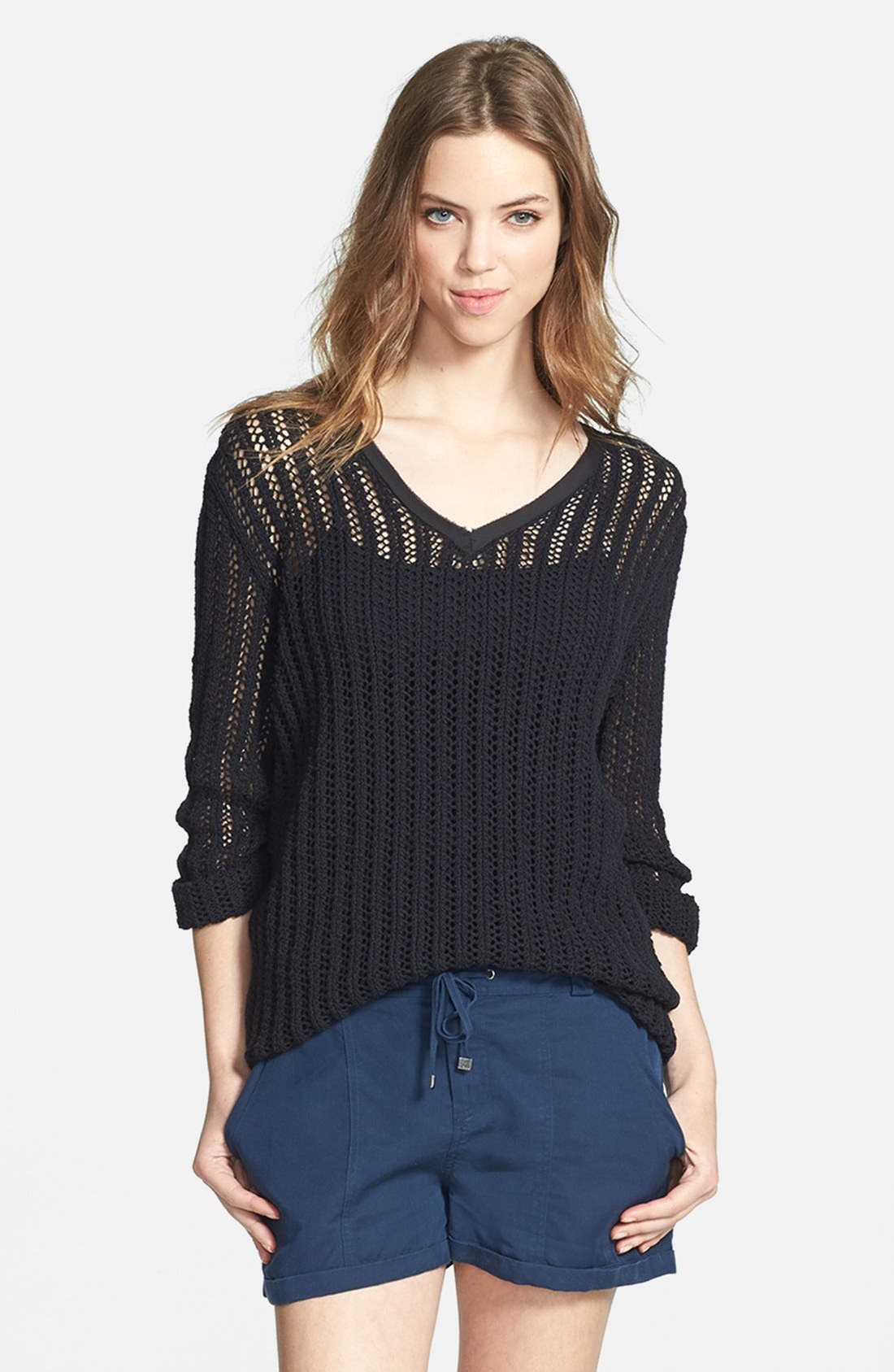 Alternate Image 1 Selected - Two by Vince Camuto Mesh Stitch V-Neck Sweater