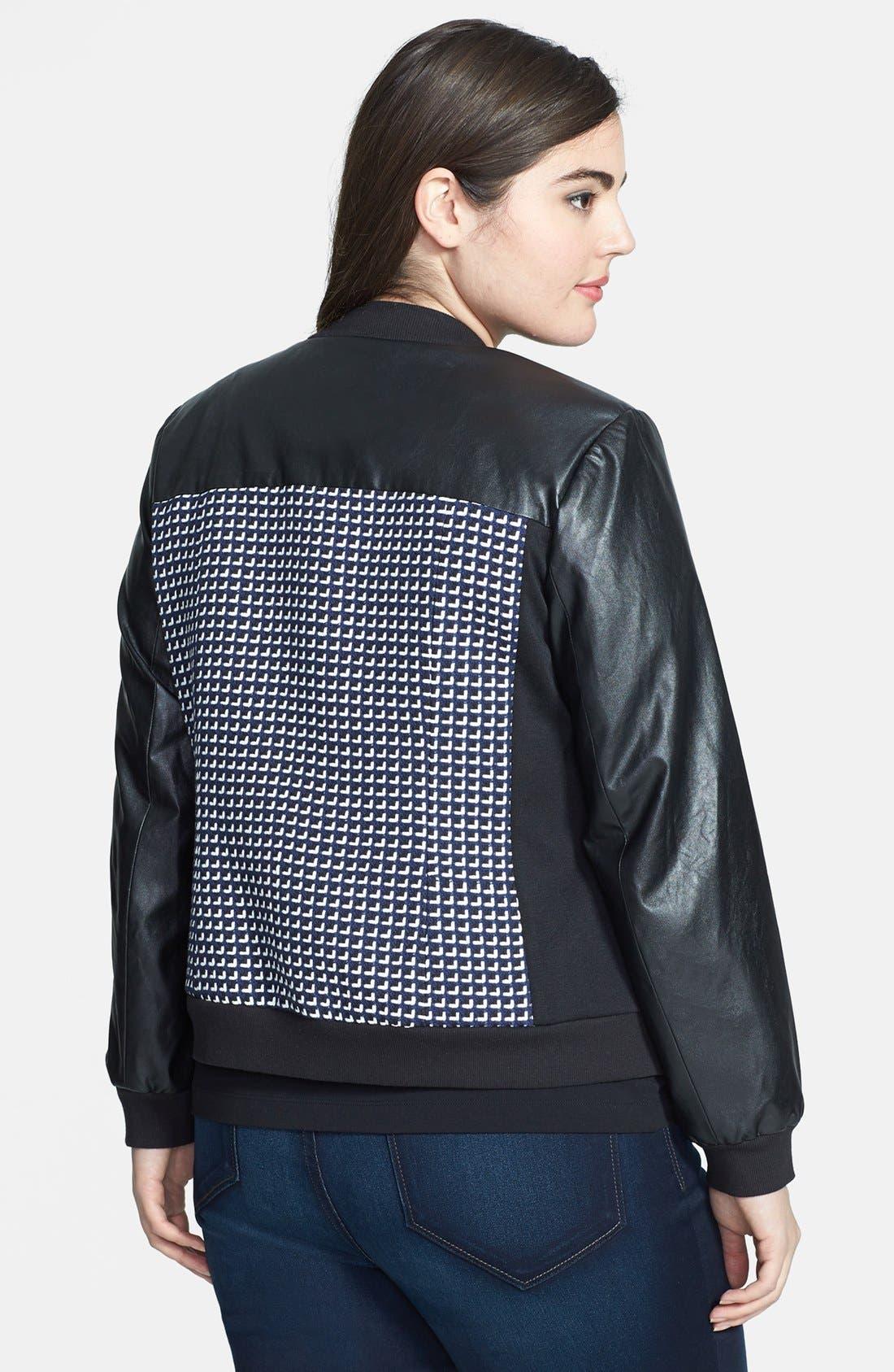 Alternate Image 2  - Sejour 'Costal' Tweed & Faux Leather Bomber Jacket (Plus Size)
