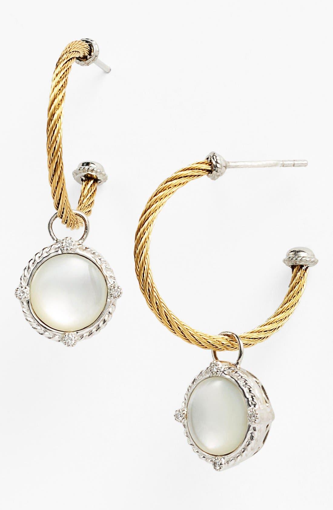 Alternate Image 1 Selected - ALOR® Diamond & Mother-of-Pearl Hoop Earrings