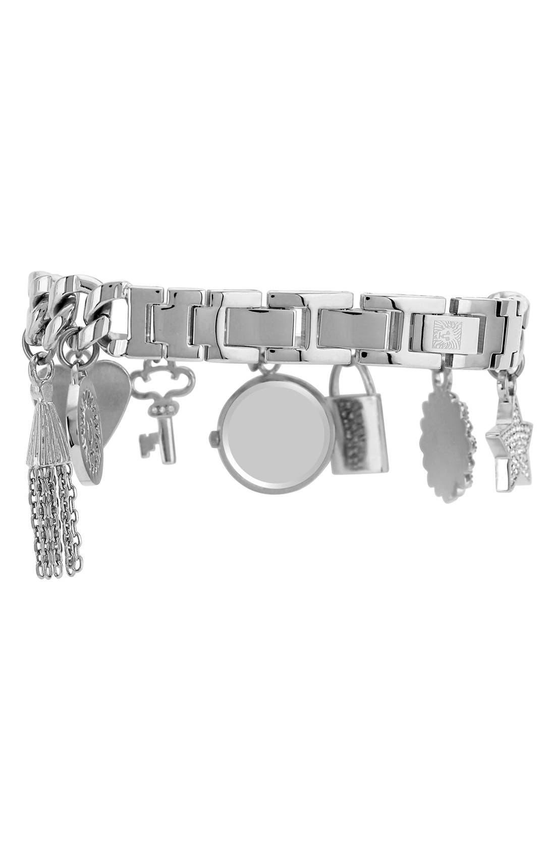 Alternate Image 2  - Anne Klein Pavé Charm Bracelet Watch, 20mm (Nordstrom Exclusive)