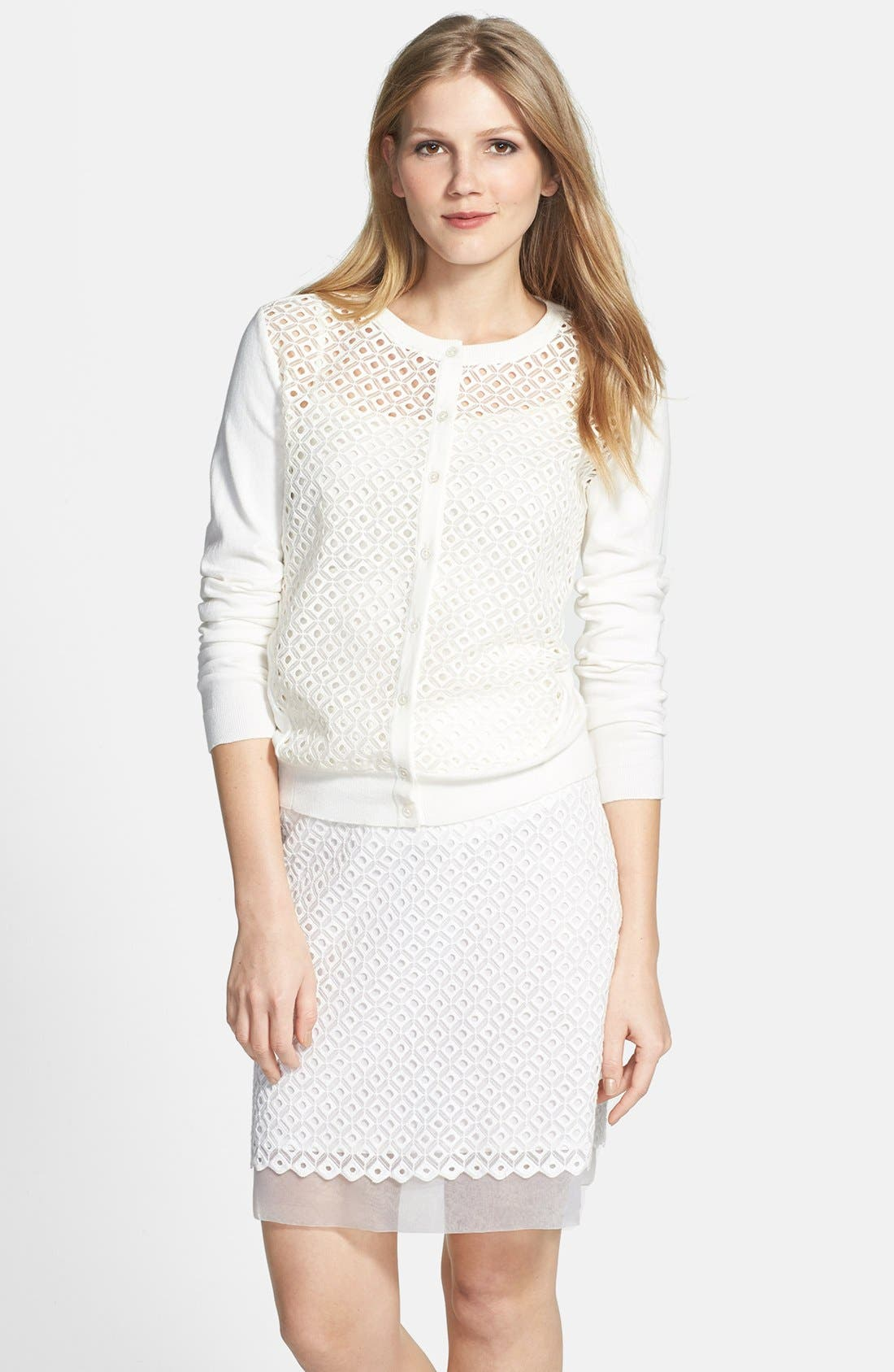 Alternate Image 1 Selected - Vince Camuto Embroidered Eyelet Cardigan