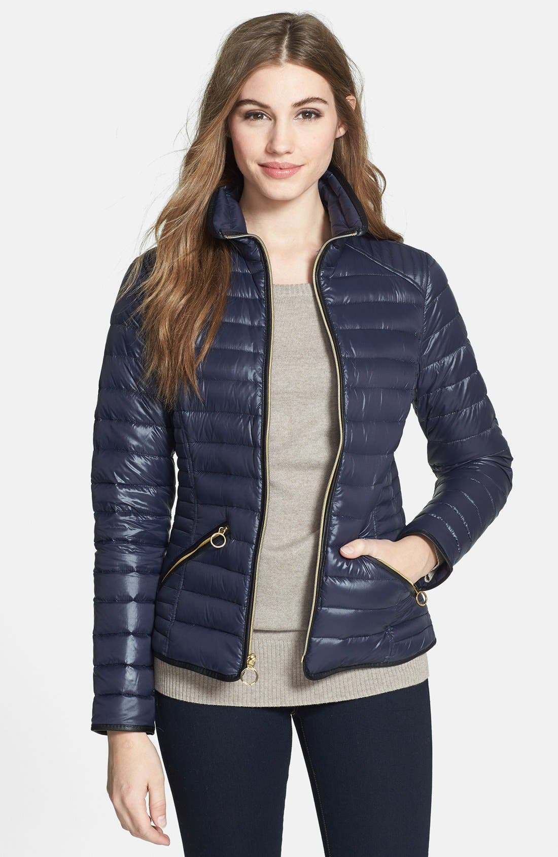 Alternate Image 1 Selected - MICHAEL Michael Kors Faux Leather Trim Down Jacket