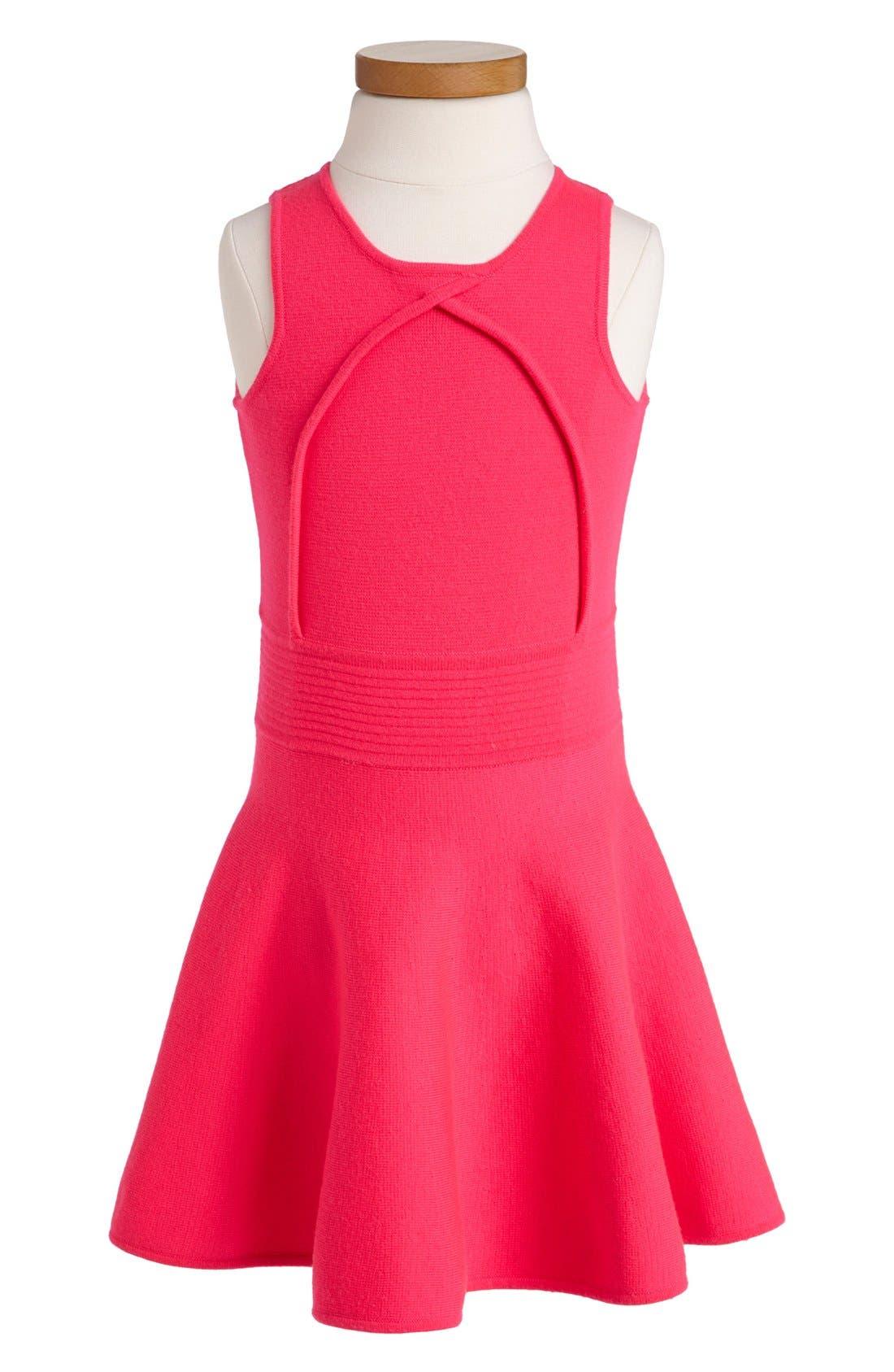 Main Image - Milly Minis Pleated Flare Dress (Toddler Girls, Little Girls & Big Girls)