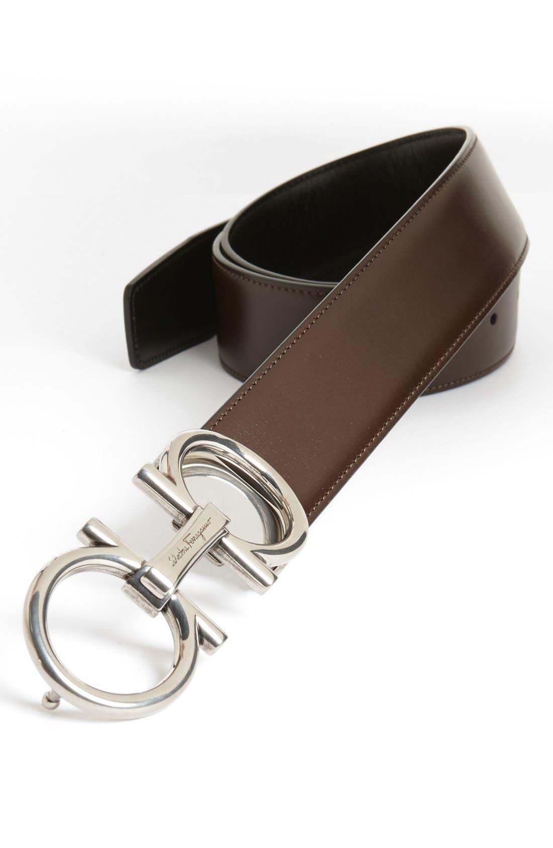 Alternate Image 1 Selected - Salvatore Ferragamo Double Gancio Reversible Leather Belt