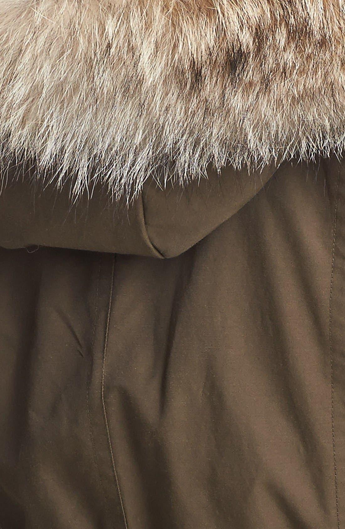 Alternate Image 3  - Trina Turk Genuine Coyote Fur Trim Anorak (Petite)