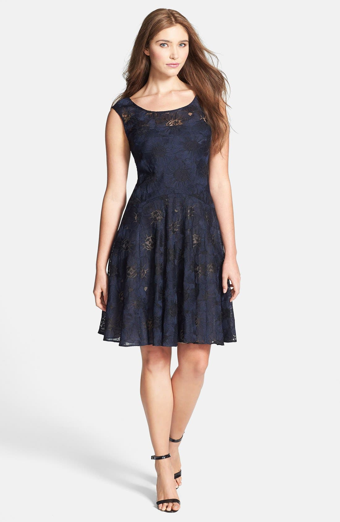 Alternate Image 1 Selected - Vera Wang Illusion Lined Lace Fit & Flare Dress