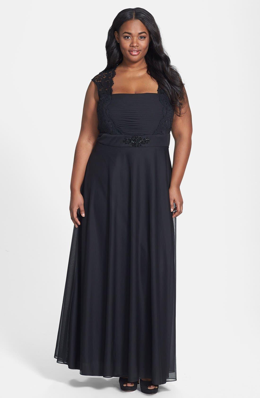 Main Image - Xscape Embellished Chiffon & Knit Gown (Plus Size)