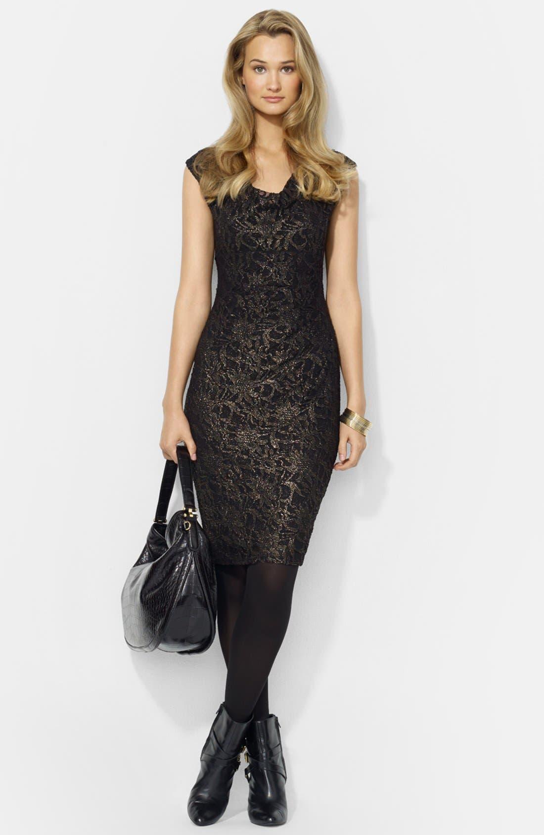 Alternate Image 1 Selected - Lauren Ralph Lauren Foiled Lace Sheath Dress (Petite)