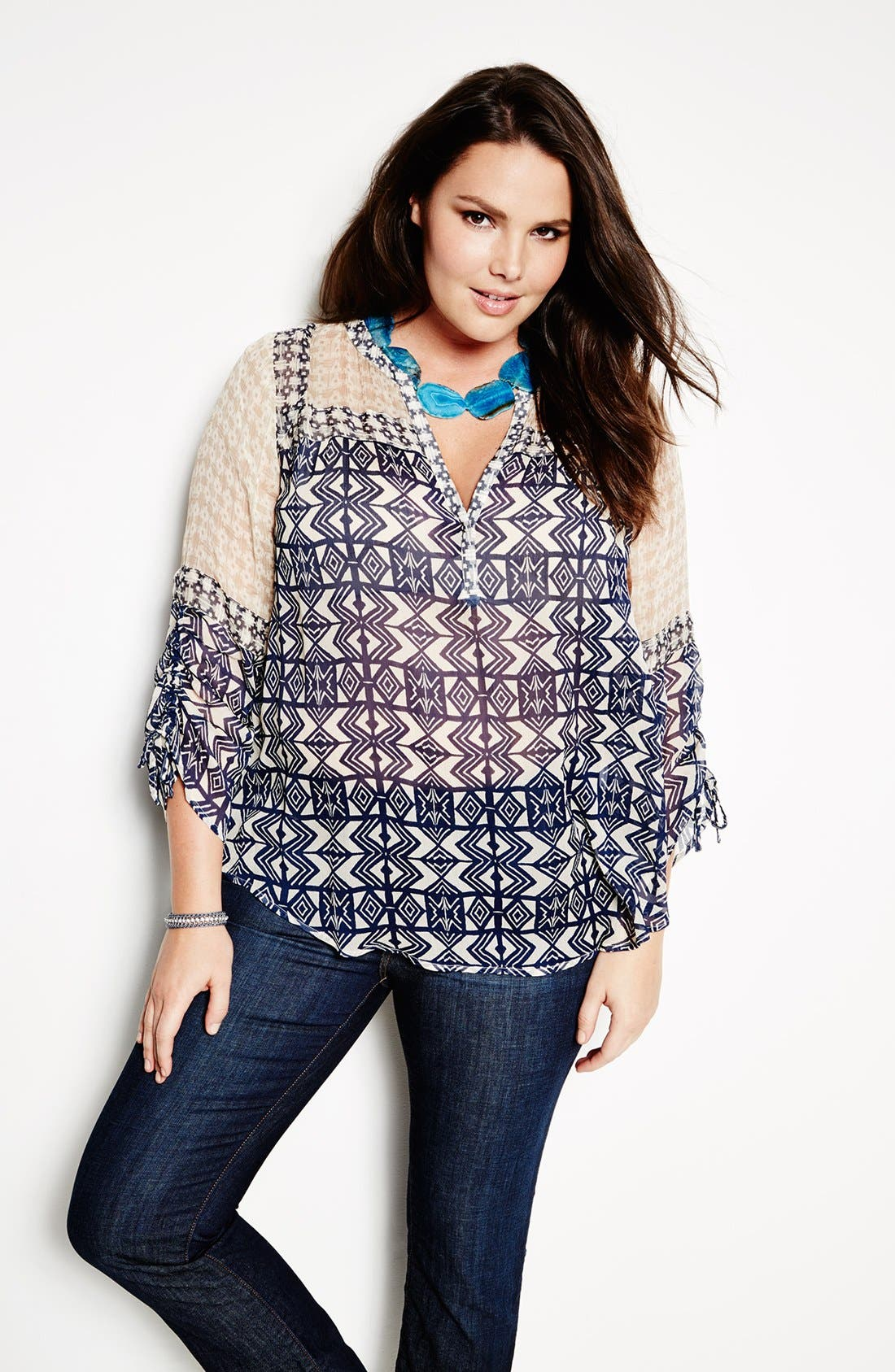 Alternate Image 4  - Lucky Brand Mixed Print Peasant Top (Plus Size)