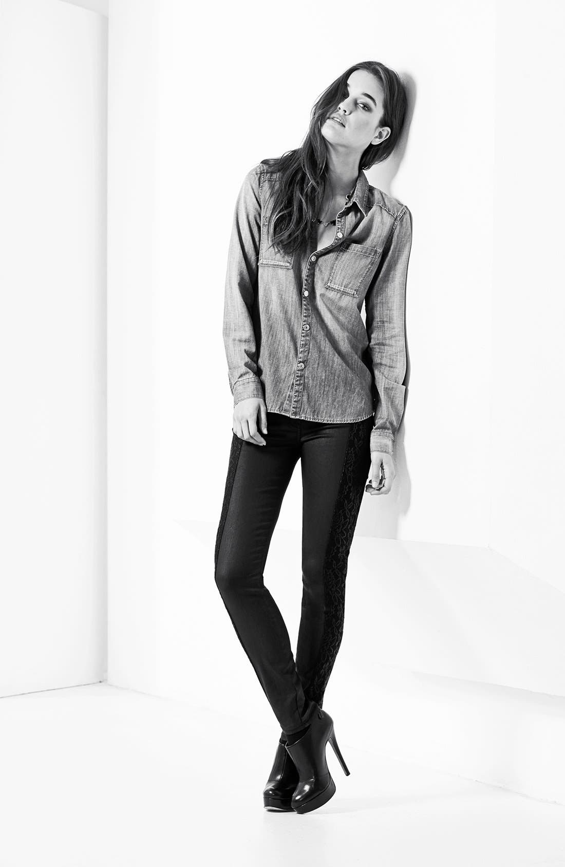 Alternate Image 6  - 7 For All Mankind® Lace Panel Pieced Coated Skinny Jeans (Black)