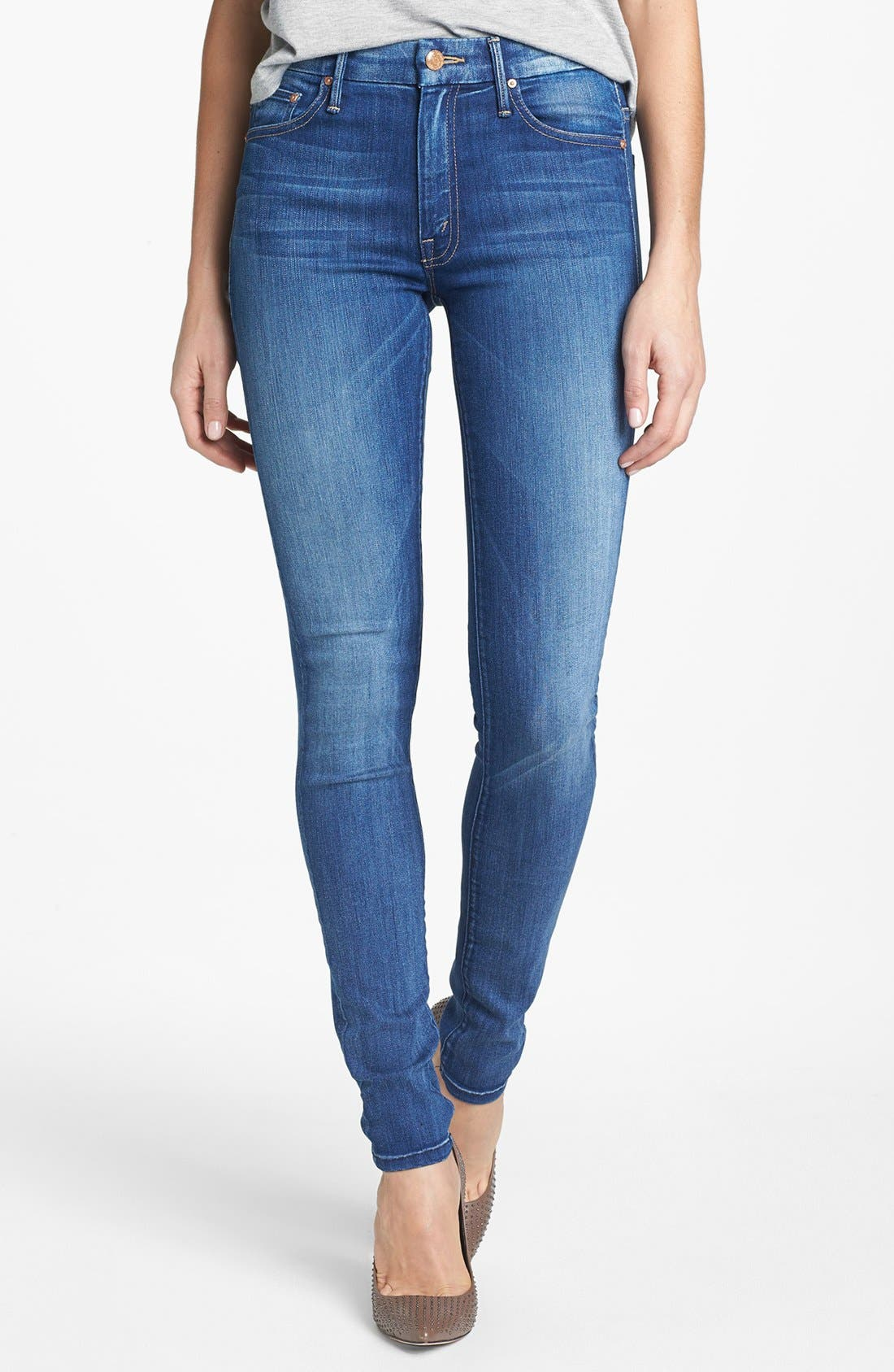 Main Image - MOTHER 'The Looker' High Rise Skinny Jeans (Devil in a Blue Suit)
