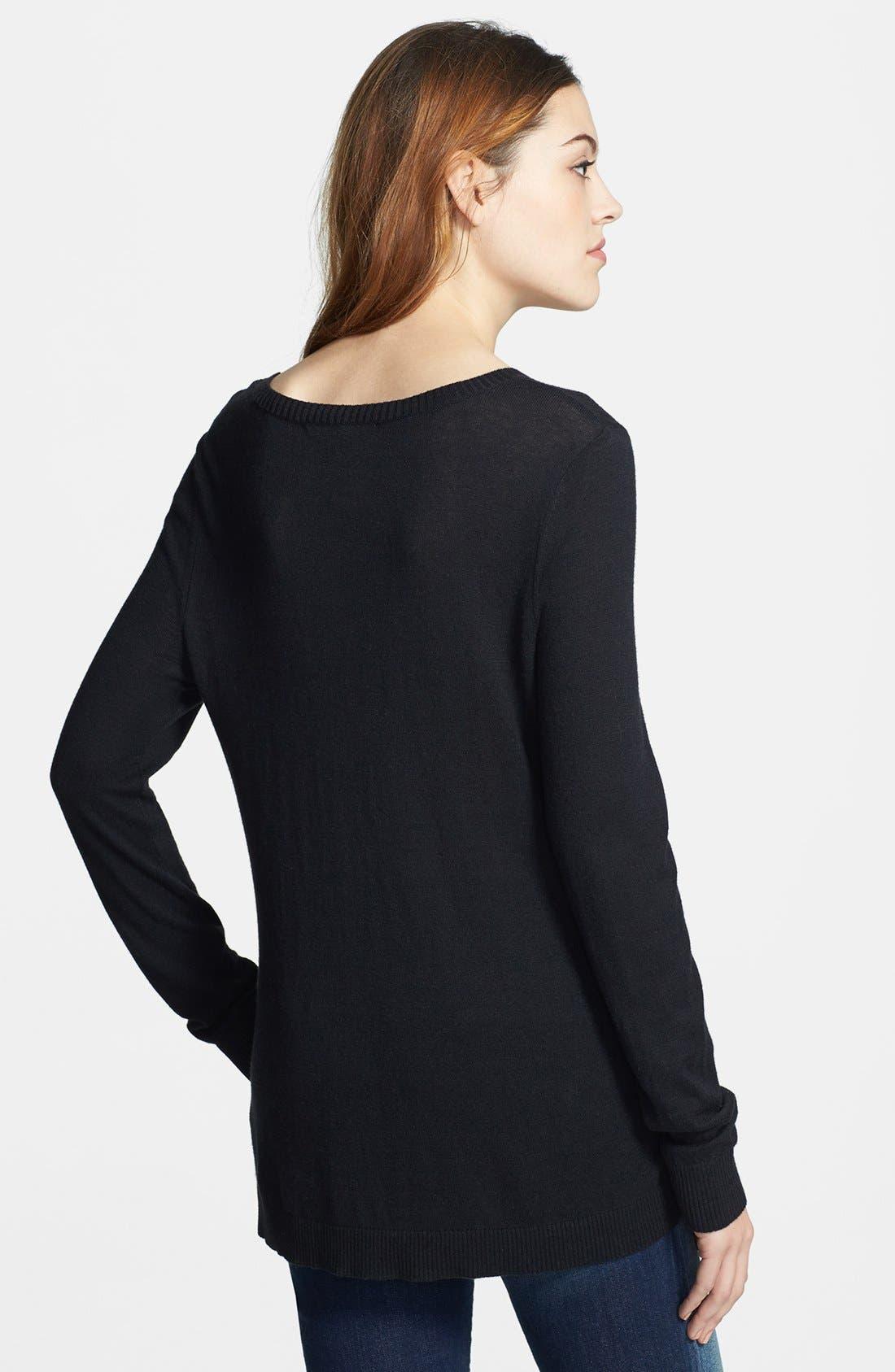 Alternate Image 2  - kensie 'Skull' Fine Gauge Sweater