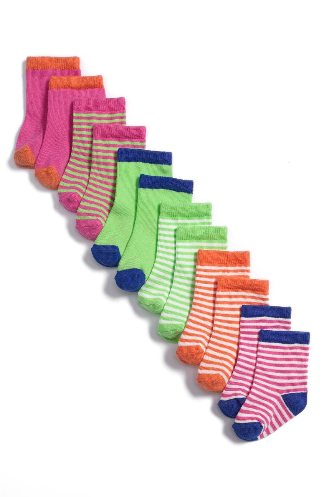 Alternate Image 1 Selected - Stem Baby Patterned Socks (6-Pack) (Baby Girls)