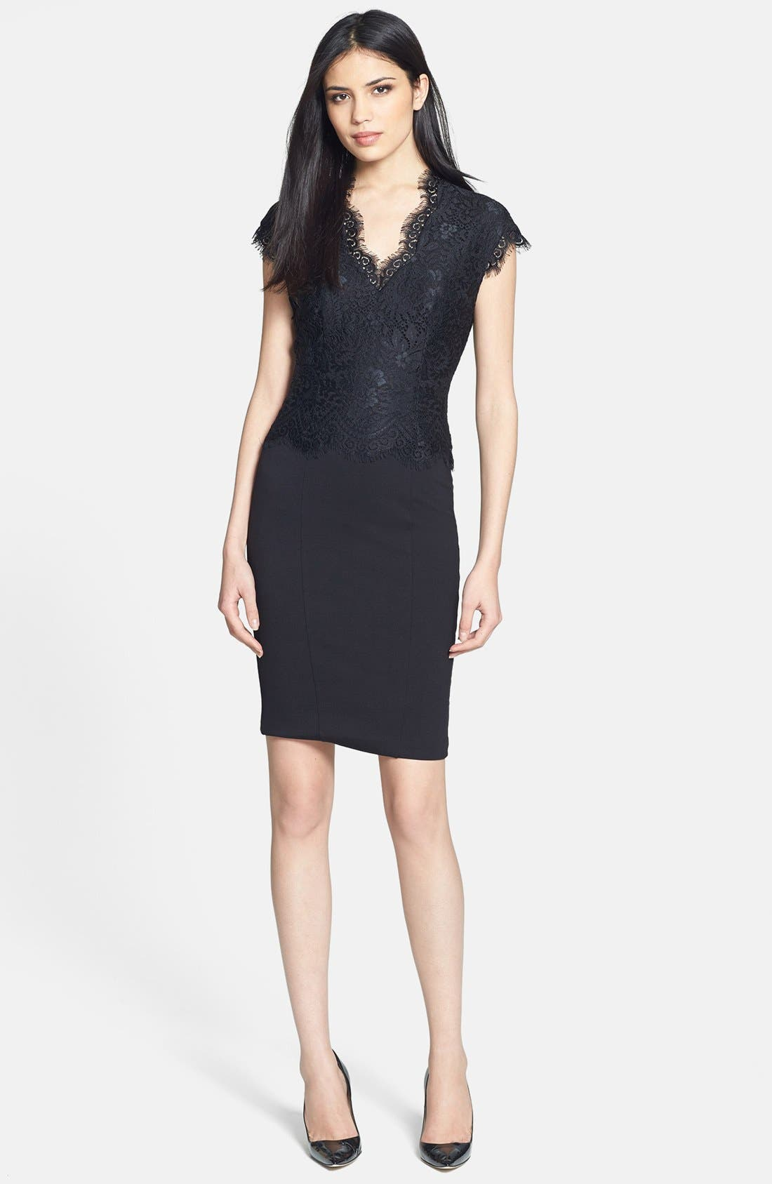 Alternate Image 1 Selected - Ted Baker London 'Sarvani' Lace & Ponte Body-Con Dress