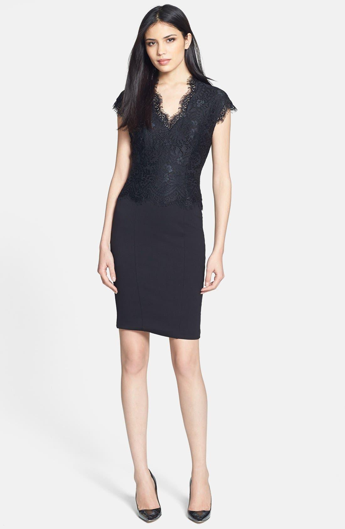 Main Image - Ted Baker London 'Sarvani' Lace & Ponte Body-Con Dress