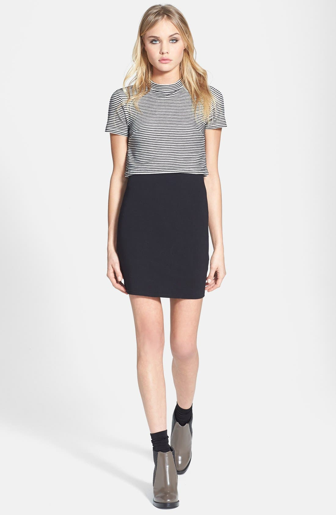 Alternate Image 1 Selected - Topshop Stripe High Neck T-Shirt Dress