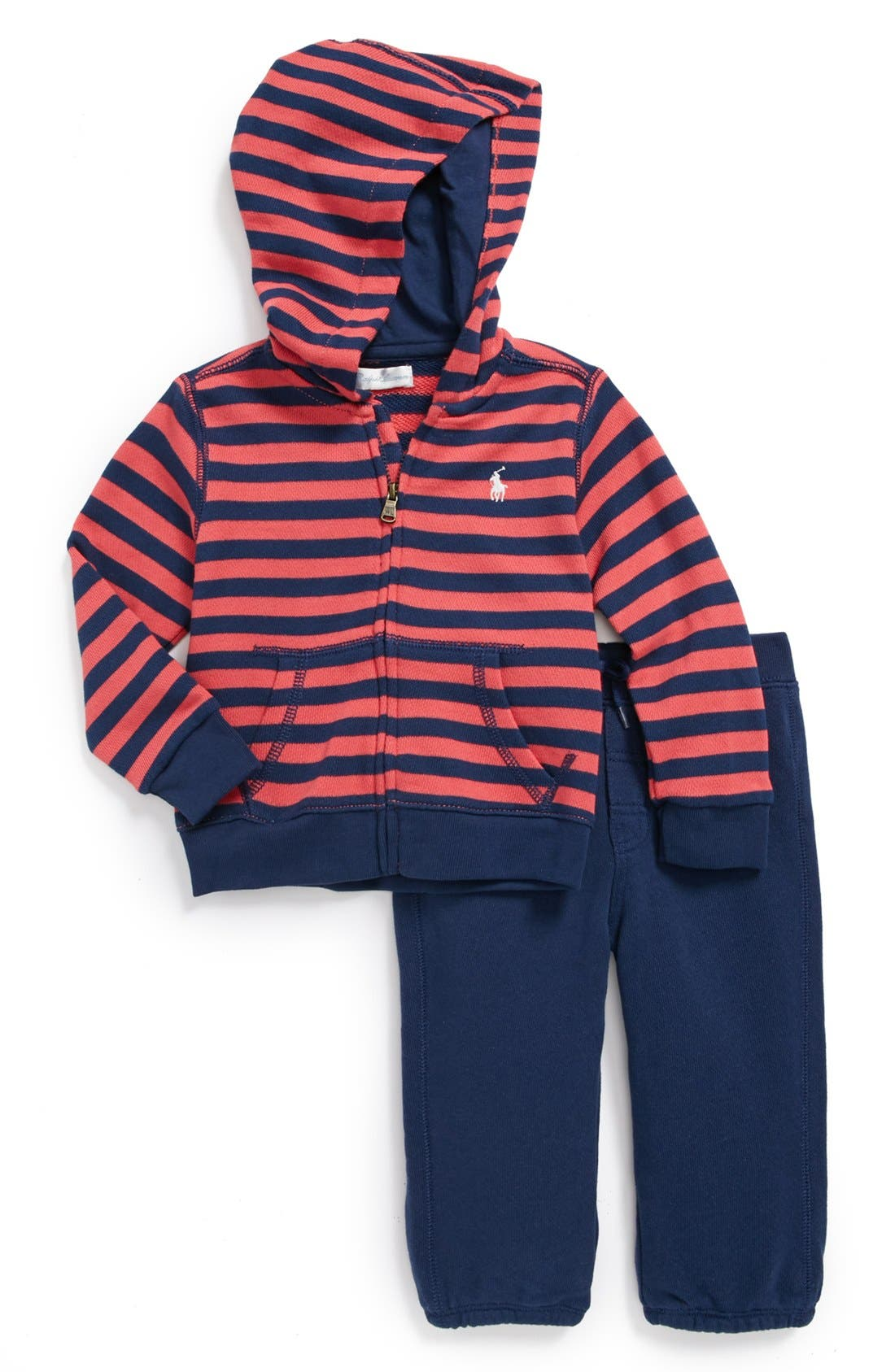 Main Image - Ralph Lauren Stripe Hoodie & Sweatpants (Baby Boys)