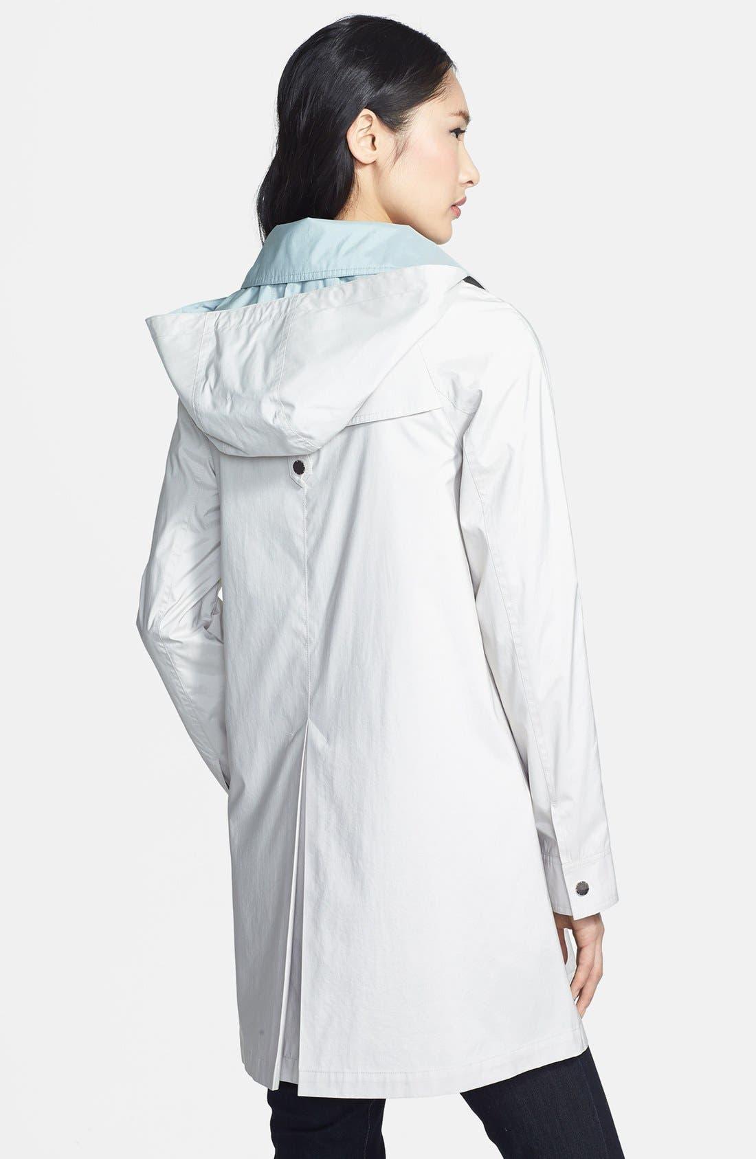 Alternate Image 2  - Gallery Roll Sleeve A-Line Hooded Walking Coat (Regular & Petite) (Online Only)