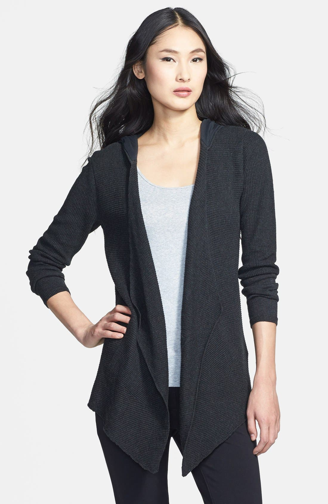 Main Image - Eileen Fisher Drape Front Hooded Organic Cotton Cardigan