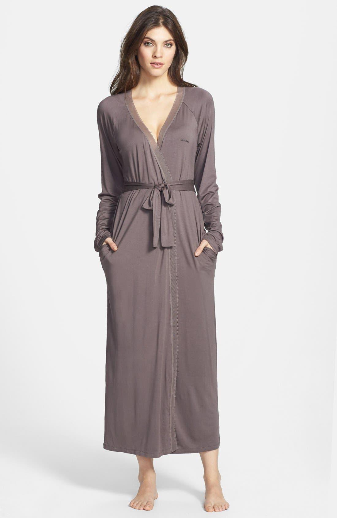 Alternate Image 1 Selected - Calvin Klein Modal & Mesh Long Robe