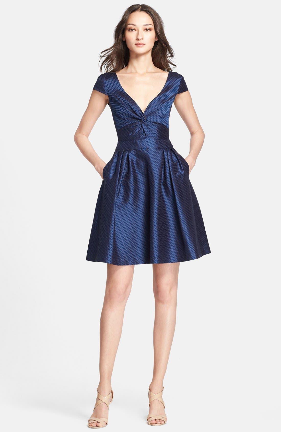 Main Image - Armani Collezioni Honeycomb Weave Full Skirt Dress