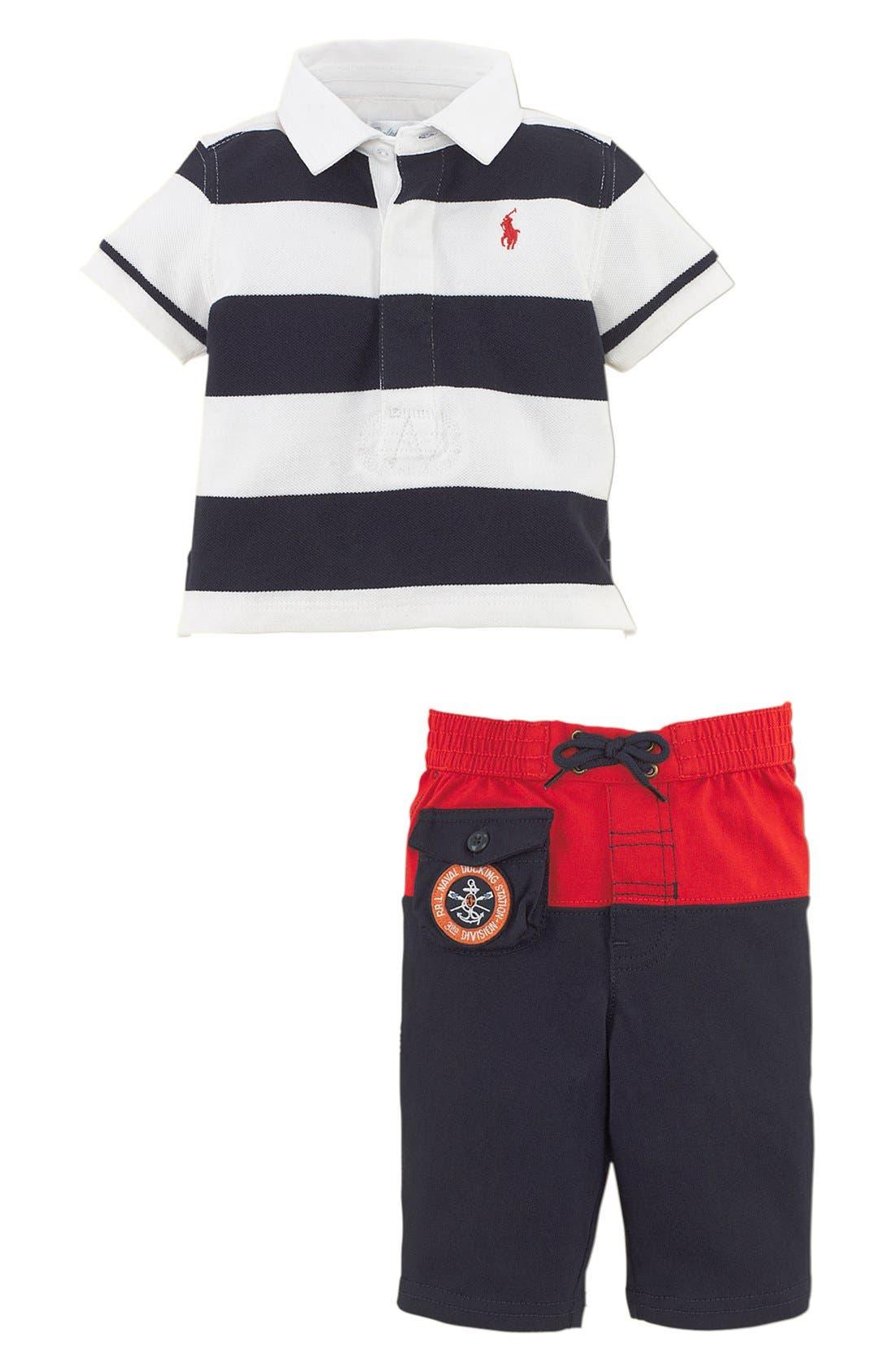 Alternate Image 2  - Ralph Lauren Stripe Polo & Pants (Baby Boys)