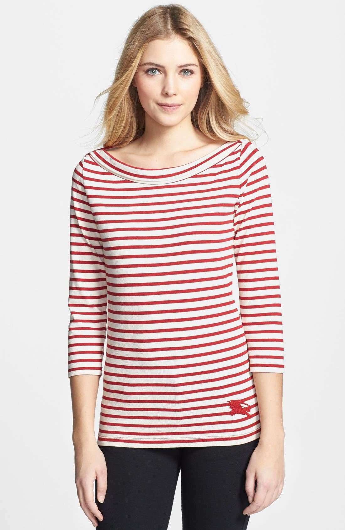 Main Image - Burberry Brit Stripe Cotton Boatneck Tee
