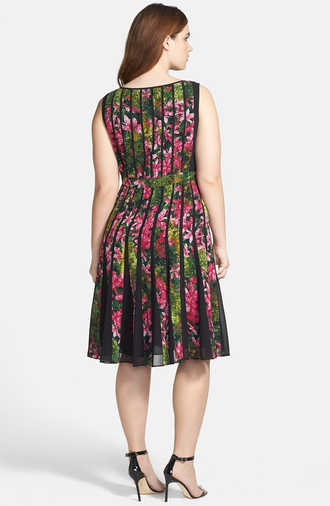 Alternate Image 2  - Adrianna Papell Floral Pleated Dress (Plus Size)