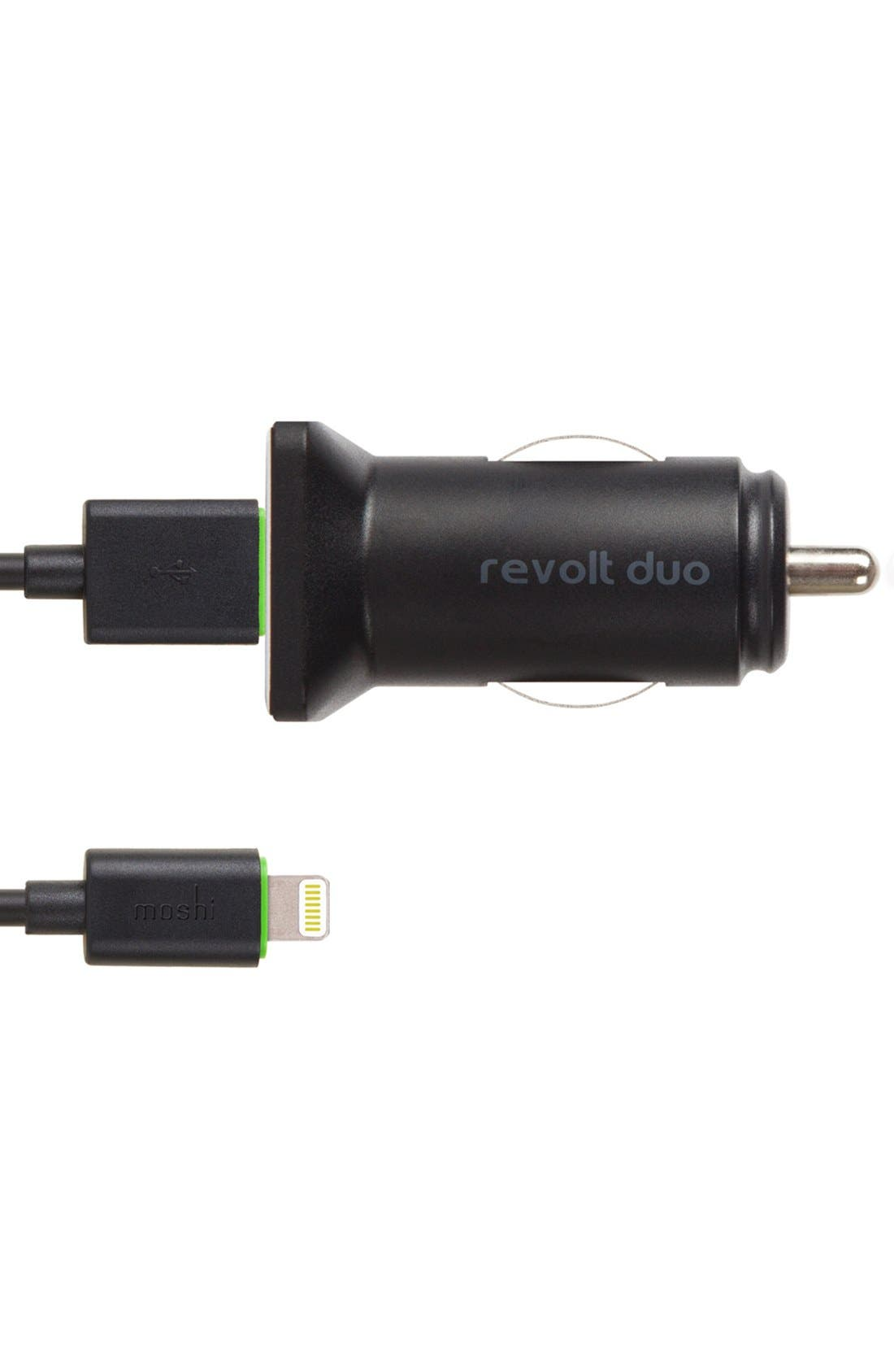 Alternate Image 1 Selected - Moshi 'Revolt Duo' 20W USB Car Charger with Lightning Cable