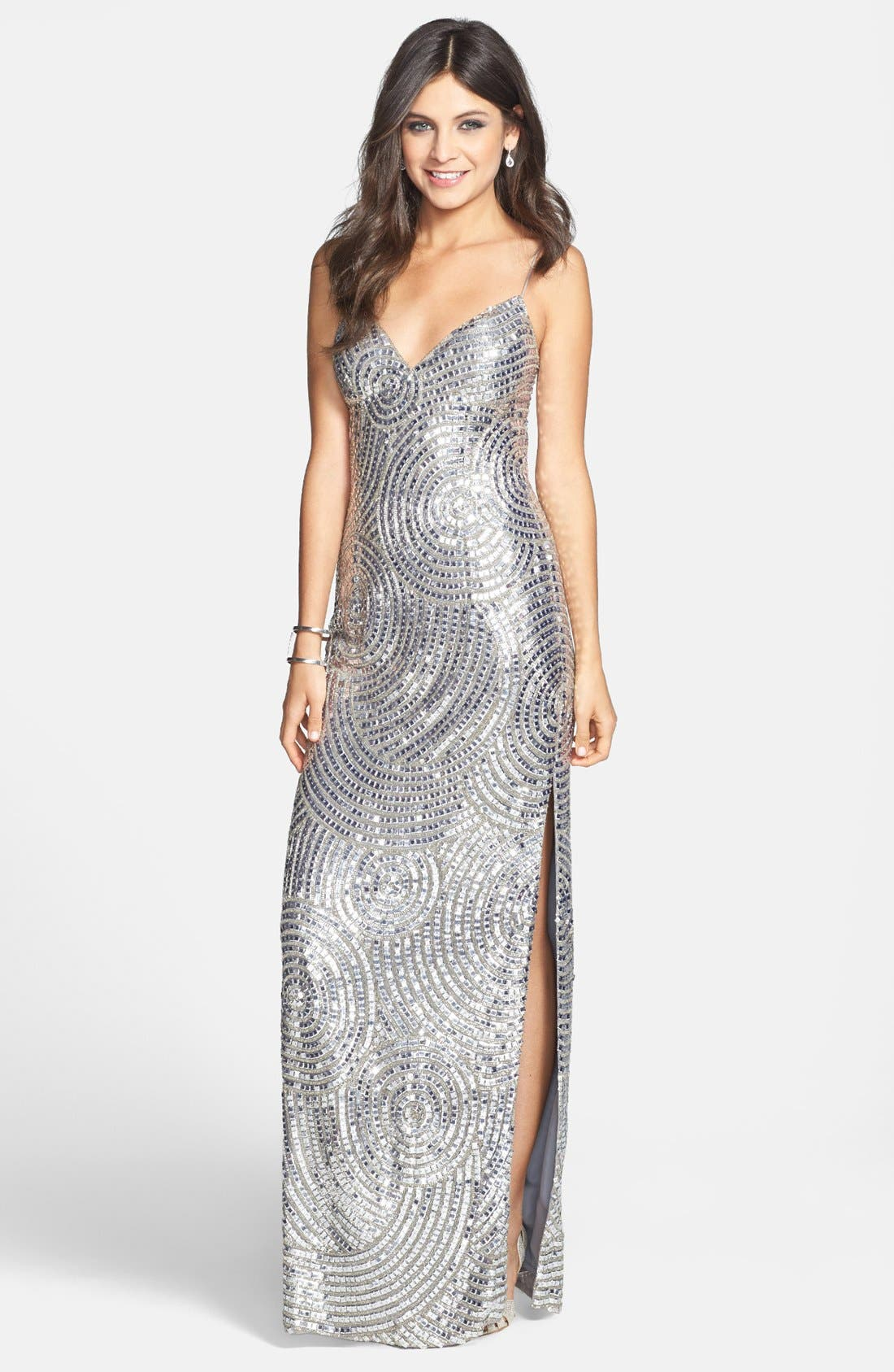 Main Image - Sean Collection Beaded Silk Georgette Column Dress