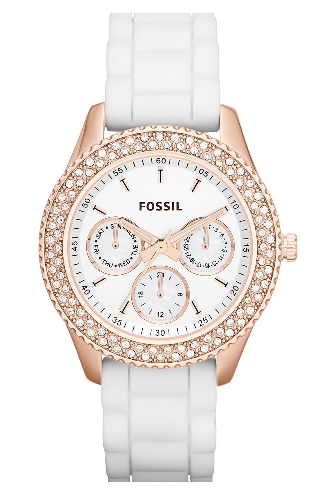 Main Image - Fossil 'Stella' Crystal Bezel Multifunction Silicone Strap Watch, 37mm