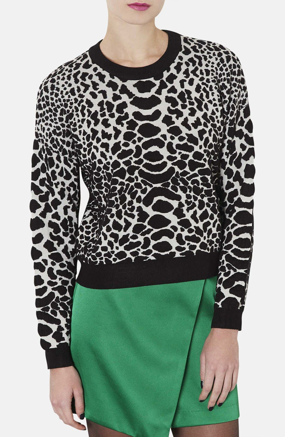 Alternate Image 1 Selected - Topshop Quilted Animal Spot Sweater