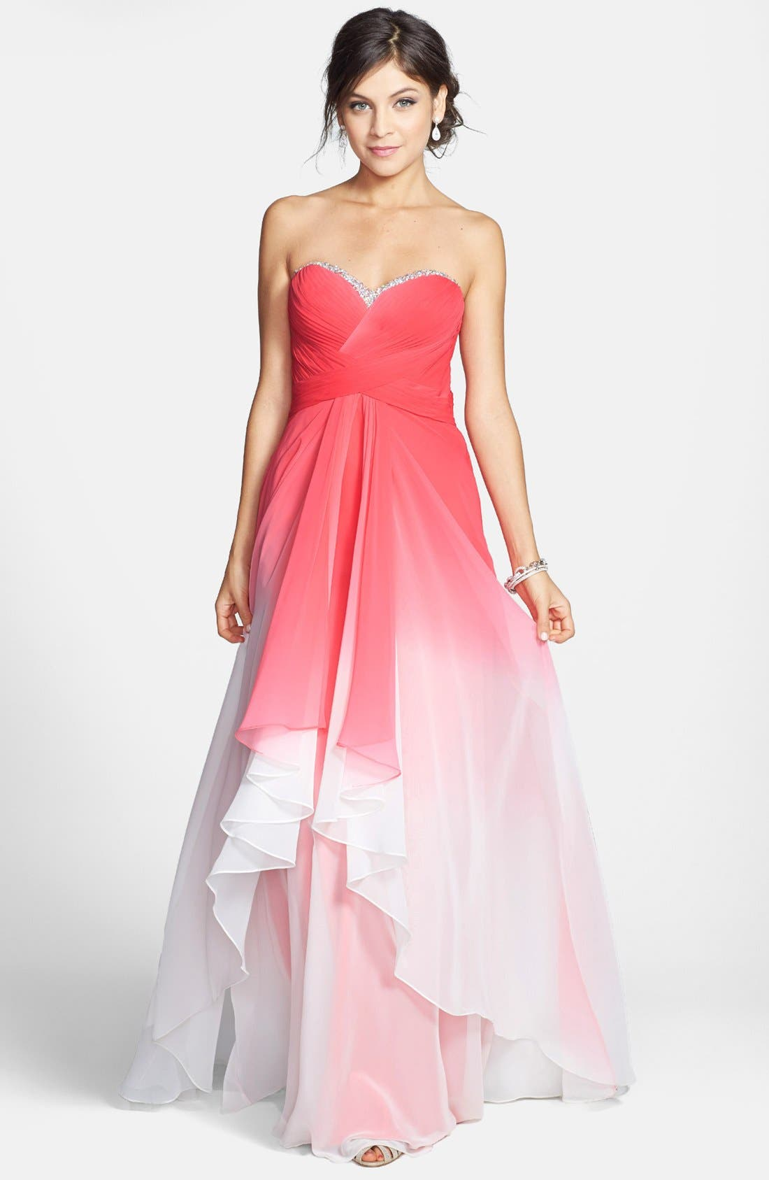 Main Image - La Femme Embellished Ombré Tiered Chiffon Gown