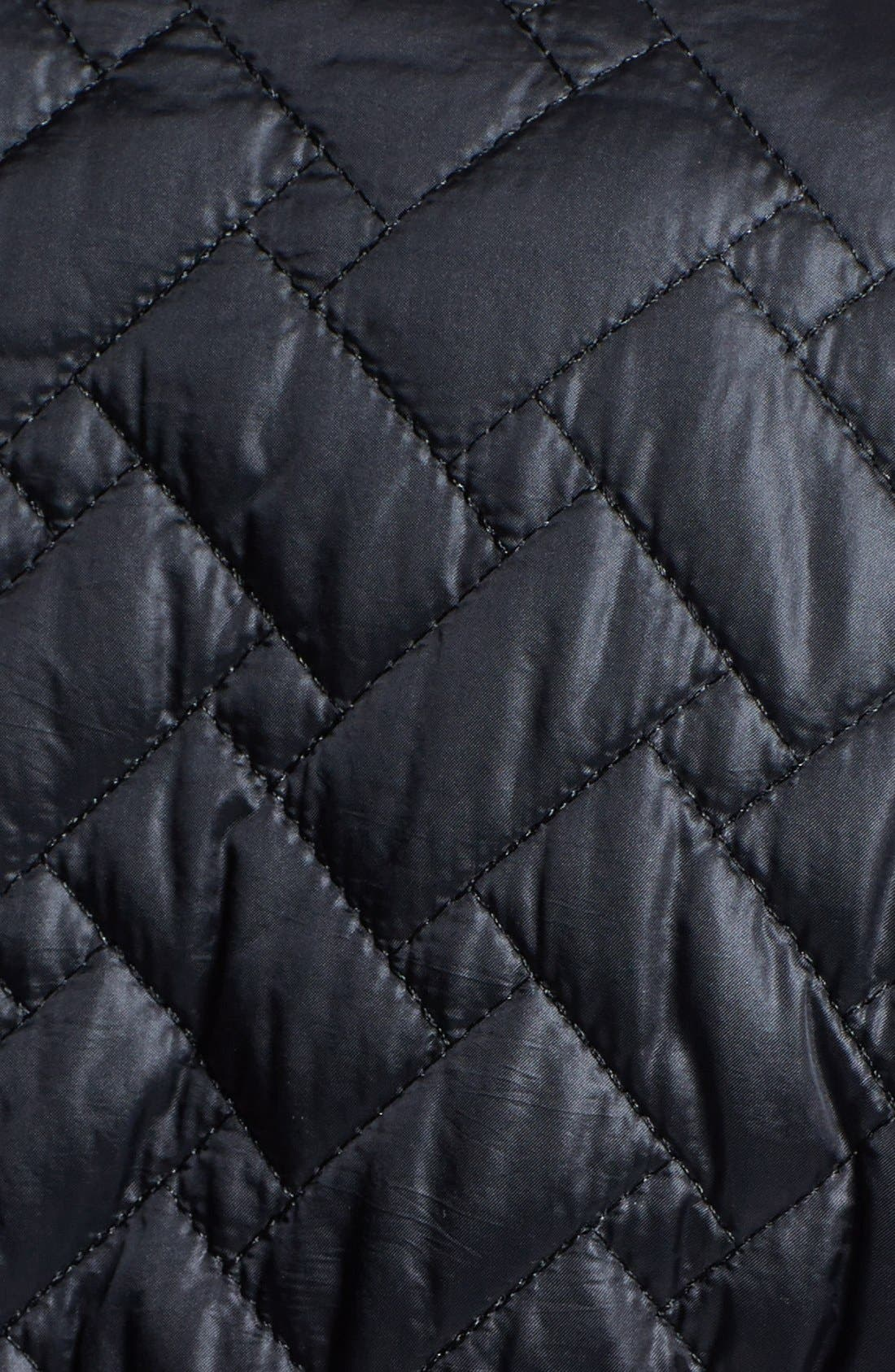 Alternate Image 3  - Cole Haan Belted Leather Trim Quilted Jacket (Petite)