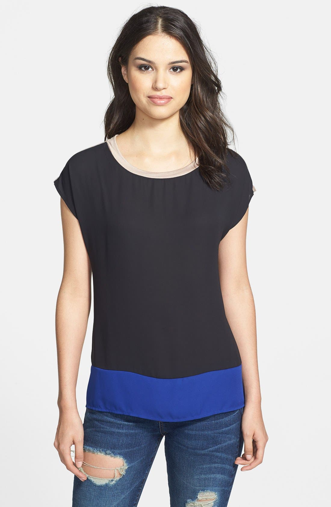 Main Image - Pleione Colorblock Woven Front Top (Petite)