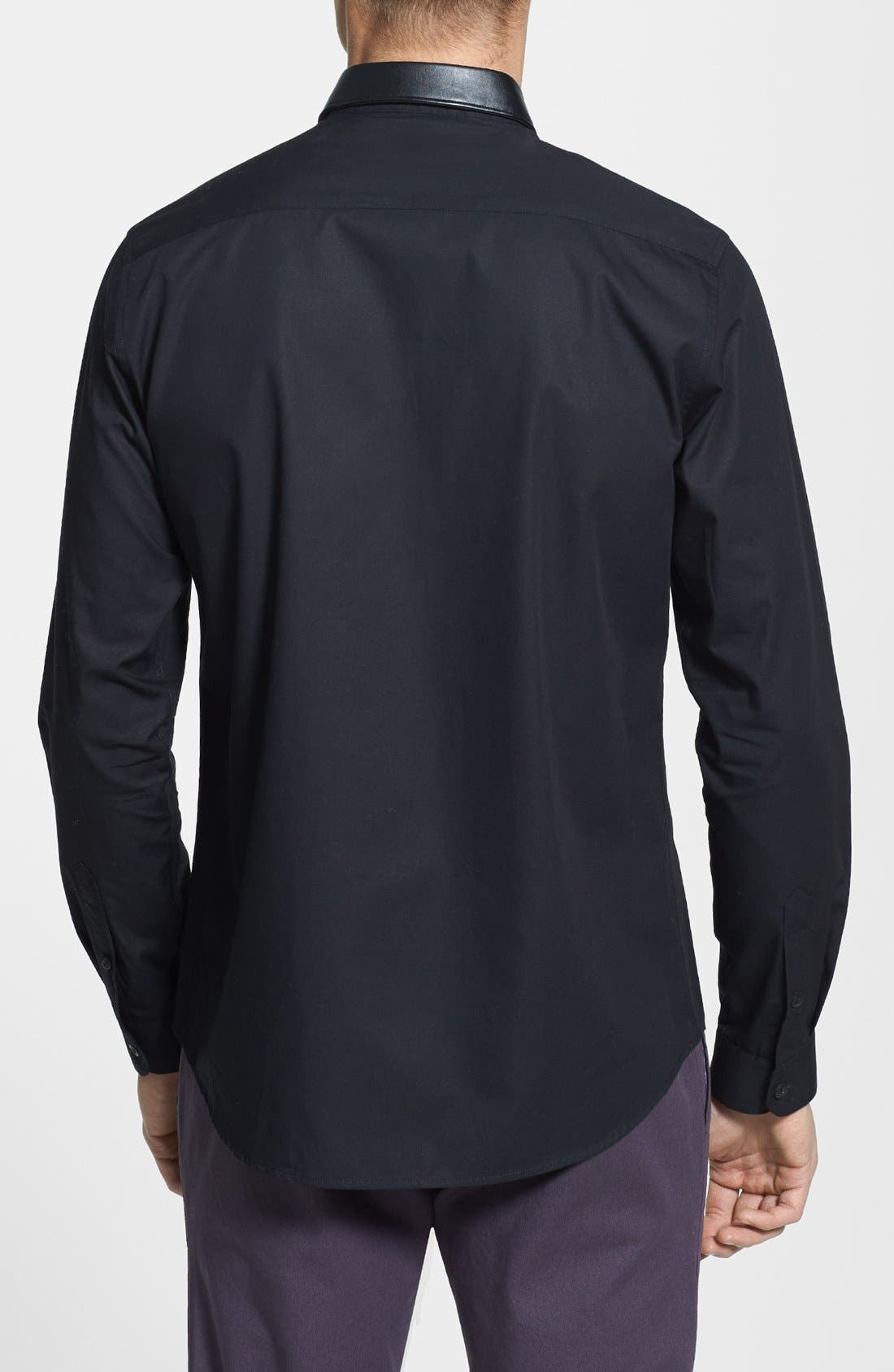 Alternate Image 2  - Topman Slim Fit Faux Leather Collar Shirt